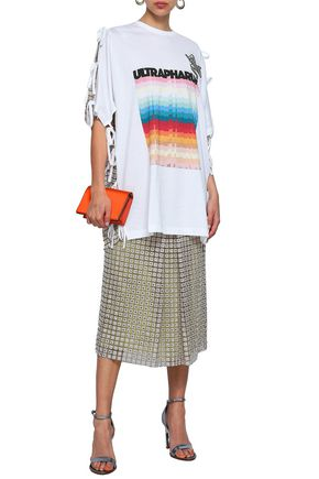 MARCO DE VINCENZO Oversized guipure lace and printed cotton-jersey T-shirt