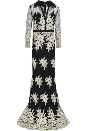 BADGLEY MISCHKA Embroidered lace gown