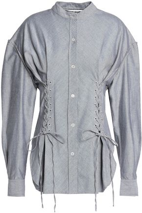 McQ Alexander McQueen Lace-up cotton Oxford shirt
