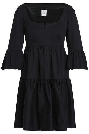 CINQ À SEPT Gathered cotton-blend twill mini dress
