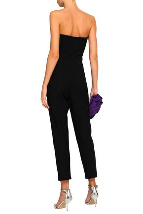 CINQ À SEPT Strapless ruffled ponte jumpsuit