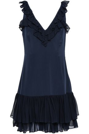 CINQ À SEPT Eloizia ruffled georgette-trimmed silk crepe de chine mini dress