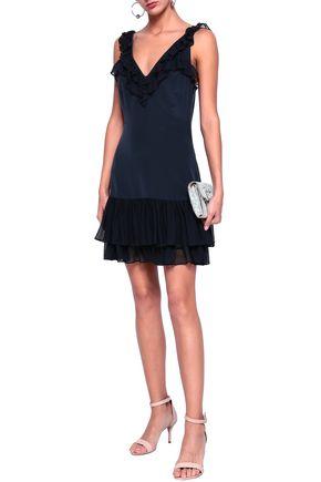 CINQ À SEPT Eloizia ruffled georgette-trimmed silk crepe de chine mini dress