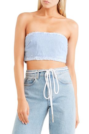 OFF-WHITE™ Strapless cropped denim top