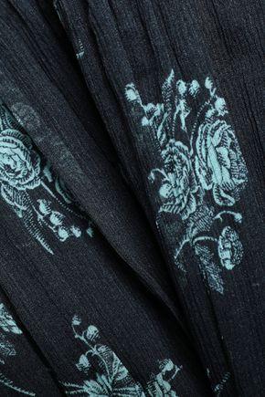 CINQ À SEPT Natalie lace-trimmed pintucked floral-print silk-georgette blouse