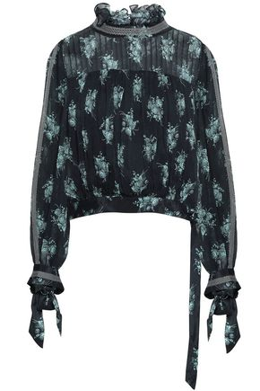 CINQ À SEPT Natalie lace-trimmed pintucked floral-print silk-georgette blouse