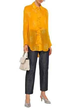 CINQ À SEPT Eden Rosalie ruffle-trimmed printed silk-georgette tunic