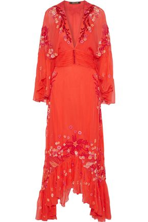 ROBERTO CAVALLI Embellished silk-georgette maxi dress