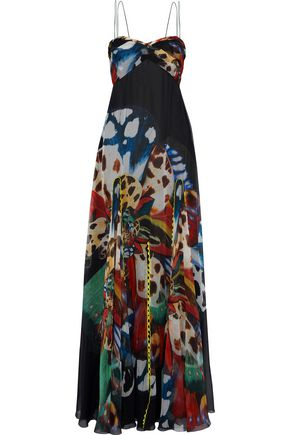 ROBERTO CAVALLI Lace-trimmed printed silk-chiffon gown