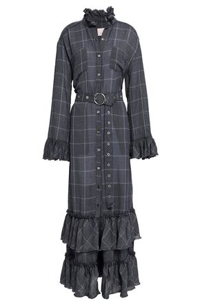 CINQ À SEPT Remi ruffle-trimmed checked woven maxi shirt dress