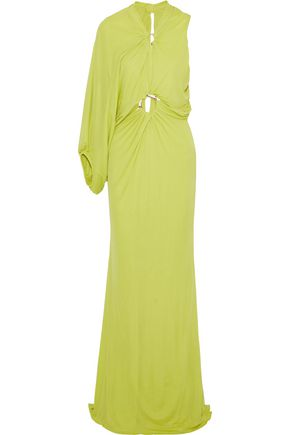 ROBERTO CAVALLI One-shoulder draped embellished stretch-jersey gown