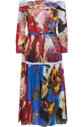 ROBERTO CAVALLI Off-the-shoulder floral-print cotton and linen-blend midi dress