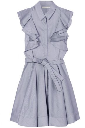 ANTONIO BERARDI Ruffled cotton-chambray mini dress