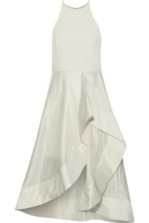 HALSTON HERITAGE Satin-trimmed crepe and taffeta dress
