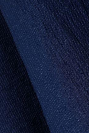 HALSTON HERITAGE Cold-shoulder chiffon-paneled seersucker top