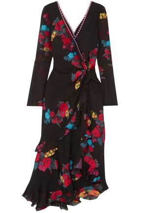 ETRO Twist-back ruffled asymmetric silk-blend jacquard midi dress
