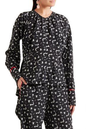 MARNI Gothica asymmetric printed silk crepe de chine blouse