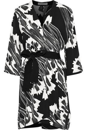 HALSTON HERITAGE Belted printed crepe mini dress