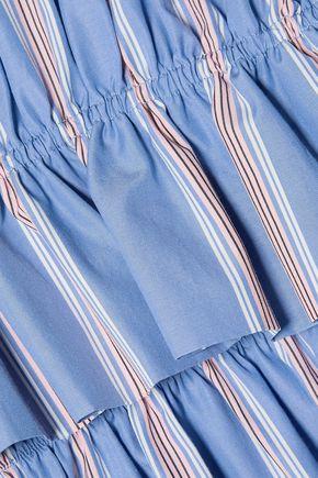 MARNI Ruffled striped cotton-poplin top