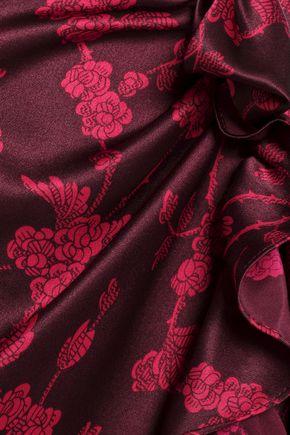 CINQ À SEPT Nannon bow-embellished gathered floral-print silk-satin midi dress
