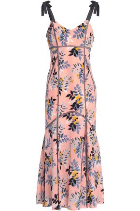 CINQ À SEPT Ainsley floral-print silk crepe de chine midi dress
