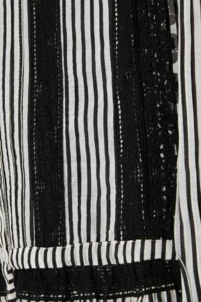 LOVE SAM Crochet-trimmed striped cotton-blend top