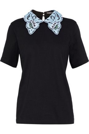 MARKUS LUPFER Phoebe embellished guipure lace-trimmed cotton-jersey top