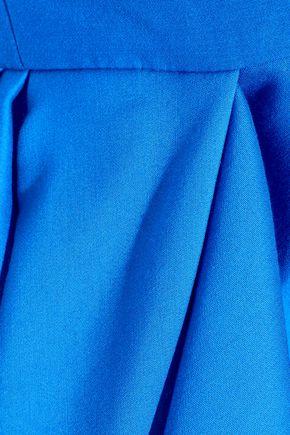 HALSTON HERITAGE Strapless cotton and silk-blend peplum mini dress