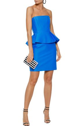 e325f54addd1 HALSTON HERITAGE Strapless cotton and silk-blend peplum mini dress