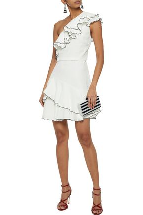 HALSTON HERITAGE One-shoulder ruffled cloqué mini dress