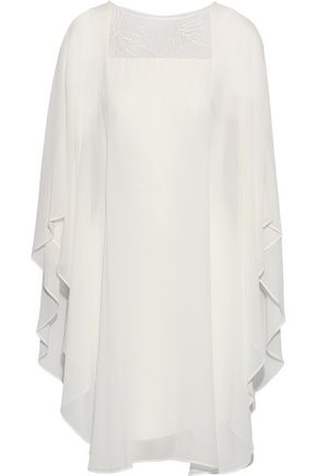 HALSTON HERITAGE Cape-effect embroidered tulle-paneled chiffon dress