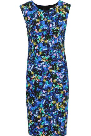 MILLY Modern printed stretch-crepe dress