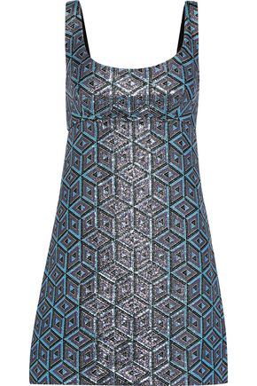 MILLY Mod metallic jacquard mini dress