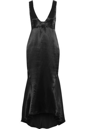 BEAUFILLE Nodus fluted satin midi dress