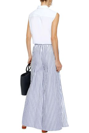 ONIA Chloe striped linen and cotton-blend wide-leg pants