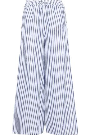 cb9f98ab68a ONIA Chloe striped linen and cotton-blend wide-leg pants