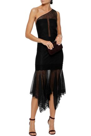 HALSTON HERITAGE One-shoulder fluted lace midi dress