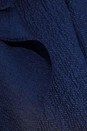 HALSTON HERITAGE Cold-shoulder ruffled seersucker blouse