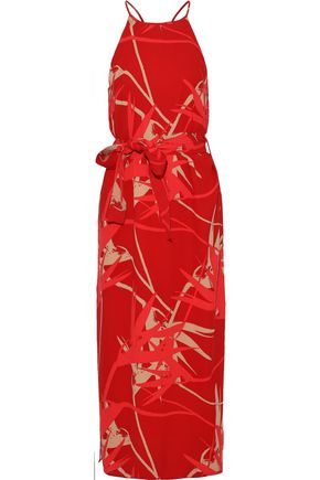 HALSTON HERITAGE Belted printed crepe de chine midi dress