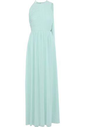 HALSTON HERITAGE Draped plissé-georgette gown