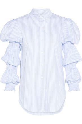 PETERSYN Ophelia shirred checked cotton-poplin shirt