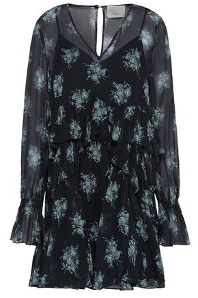 CINQ À SEPT Farris ruffled floral-print silk-georgette mini dress