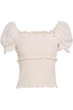 Ellis Ruffle Trimmed Shirred Silk Crepe De Chine Top by Cinq À Sept