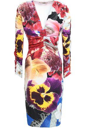 ROBERTO CAVALLI Embellished floral-print stretch-jersey dress