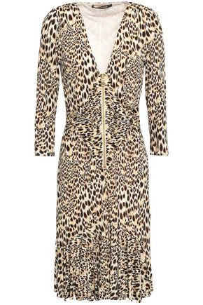 ROBERTO CAVALLI Knotted leopard-print stretch-crepe dress