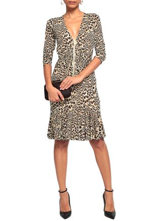 0d0e8bf436 ... ROBERTO CAVALLI Knotted leopard-print stretch-jersey dress ...