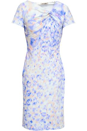 ROBERTO CAVALLI Printed knotted stretch-jersey dress