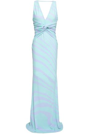 ROBERTO CAVALLI Twisted zebra-print stretch-jersey maxi dress