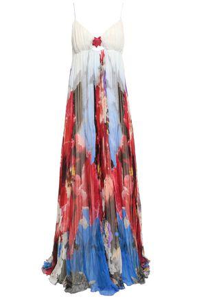 ROBERTO CAVALLI Floral-print silk-chiffon plissé gown