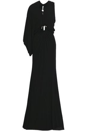 ROBERTO CAVALLI One-shoulder cutout crepe maxi dress